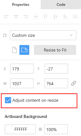 The Adjust content on resize checkbox